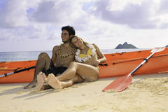 Young couple with their kayak Royalty Free Stock Photography
