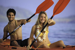 Young couple with their kayak Stock Photo