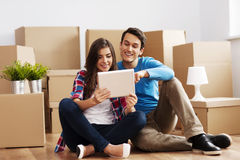 Young couple in their new home Royalty Free Stock Image