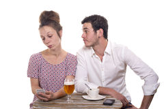 Young couple with their phones are Disgruntled Stock Photo