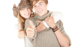 Young couple, thumbs up Stock Photography