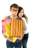 Young couple tired of shopping Stock Image