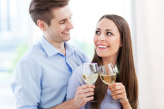 Young couple toasting Royalty Free Stock Photos