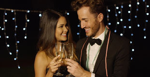 Young couple toasting the New Year with champagne Stock Photo