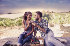 Young couple toasting in a vineyard Stock Image