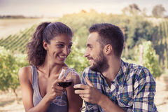 Young couple toasting in a vineyard Royalty Free Stock Image
