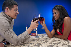 Young couple toasting with wine Stock Photography