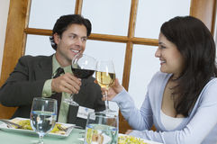 Young Couple Toasting Wineglasses stock images
