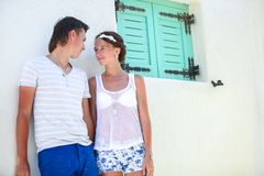Young couple together enjoy their vacation in old Royalty Free Stock Images