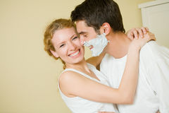 Young couple together at home Stock Images