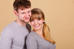 Young couple together hugging. Royalty Free Stock Image