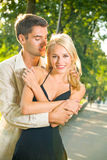 Young couple together, outdoors Royalty Free Stock Photos