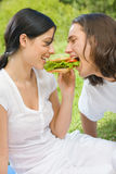 Young couple together outdoors Stock Photo