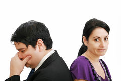 Young couple together in state of troubles Stock Images