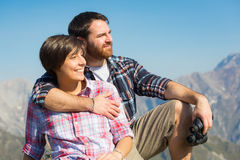 Young Couple at Top of Mountain Royalty Free Stock Photos