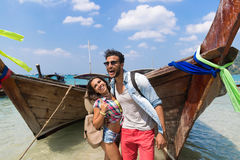 Young Couple Tourist Long Tail Thailand Boat Ocean Sea Vacation Travel Trip Royalty Free Stock Photo