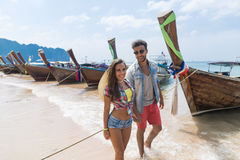 Young Couple Tourist Long Tail Thailand Boat Port Ocean Sea Vacation Travel Trip Stock Photography