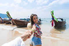 Young Couple Tourist Long Tail Thailand Boat Port Ocean Sea Vacation Travel Trip royalty free stock photos