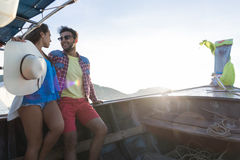 Young Couple Tourist Sail Long Tail Thailand Boat Ocean Sea Vacation Travel Trip Royalty Free Stock Photography