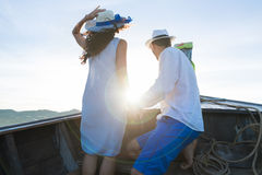 Young Couple Tourist Sail Long Tail Thailand Boat Ocean Sea Vacation Travel Trip Royalty Free Stock Photos