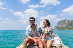 Young Couple Tourist Sail Long Tail Thailand Boat Ocean Sea Vacation Travel Trip Royalty Free Stock Images