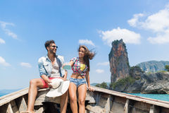 Young Couple Tourist Sail Long Tail Thailand Boat Ocean Sea Vacation Travel Trip Stock Image