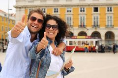 Young couple of tourists on holiday in Europe. In Lisbon royalty free stock photography