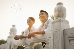 Young Couple on a Traditional Bridge Stock Images