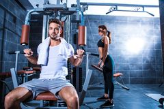 Young couple training in the Gym Stock Photography