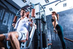Young couple training in the Gym Stock Photo