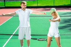 Young couple training Stock Images