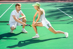 Young couple training Stock Photography