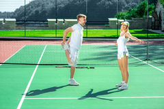 Young couple training Royalty Free Stock Image