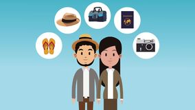 Couple and travel HD animation stock illustration