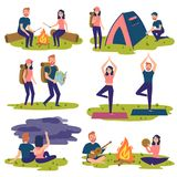Set of travelers, tourists traveling. Yoga, hiking vector illustration