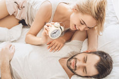 Young couple travel together hotel room leisure royalty free stock photography