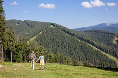 Young couple of travelers enjoying mountain view. Young couple of travelers enjoying summer mountain view royalty free stock photo