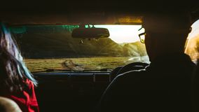 Young Couple Traveling In Car, Rear View. Road Trip Adventure Concept. A young couple, a guy and a girl are traveling by car in the mountains at dawn stock photography