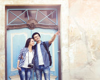 Young couple traveling and exploring new places. Traveling and c Stock Images