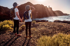 Young couple traveling nature Royalty Free Stock Image