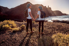 Young couple traveling nature Royalty Free Stock Photography