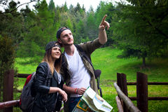Young couple traveling in a nature. Happy people. Travel lifestyle Stock Photography