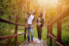 Young couple traveling in a nature. Happy people. Travel lifestyle. Young couple traveling in a nature Happy people. Travel lifestyle stock images