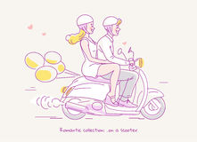 Young couple traveling on scooter with balloons behind. Line  illustration Royalty Free Stock Photography