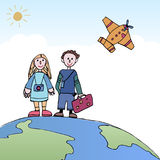Young Couple traveling, standing on the world with a plane in th Royalty Free Stock Image