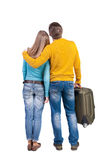 Young couple traveling with suitcas Stock Image