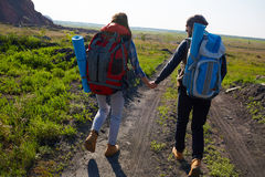 Young Couple Travelling in Mountains Stock Photos