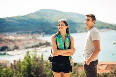 Young couple travelling and visiting Europe.Summer touring Europe and Mediterranean culture.Colourful streets,cityscape. Sightseeing tour.Budget traveling and royalty free stock photography