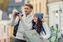 Young couple travels Stock Photos
