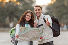 Young couple travels Stock Photo
